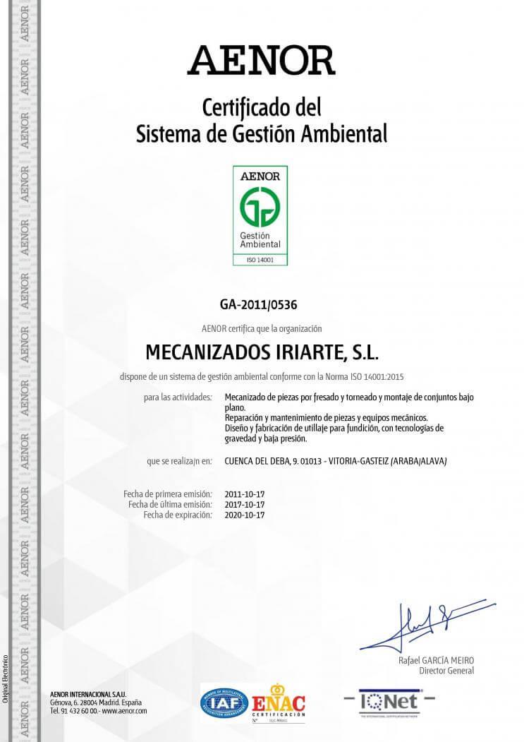 Certificado medio ambiente  ISO 14001:2004